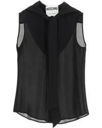Moschino Hooded Silk Shirt - Black