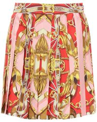 Moschino Silk Miniskirt With Teddy Scarf Print - Multicolour