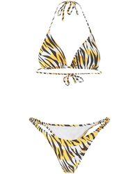 Reina Olga Tiger Print Bikini - White