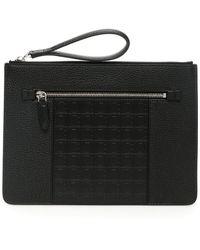 Ferragamo Firenze Leather Clutch - Black