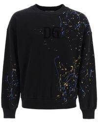 Dolce & Gabbana FELPA EFFETTO COLOR DRIPPING - Nero