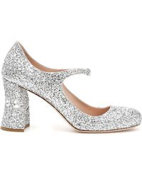 Miu Miu Decollete' Mary Jane Glitter Crystal - Metallizzato