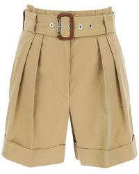 Alexander McQueen Belted Cotton Shorts 42 Cotton - Natural