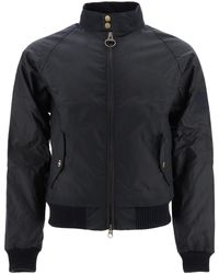 Barbour Merchant Bomber Jacket In Coated Cotton - Blue