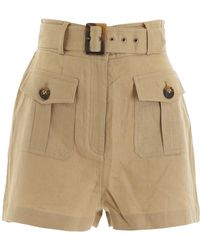 Zimmermann Linen Suruya Safari Shorts - Natural