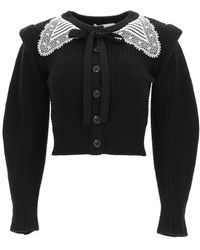 Self-Portrait Cardigan With Guipure Collar S Cotton,wool - Black
