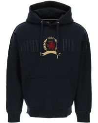 Tommy Hilfiger Hoodie With Embroidered Crest S Cotton - Blue
