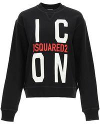 DSquared² Icon Print Sweatshirt M Cotton - Black