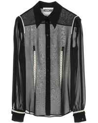 Moschino Georgette Silk Shirt With Embroideries - Gray