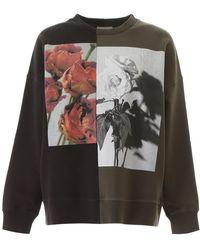 Alexander McQueen Rose Print Sweatshirt - Black
