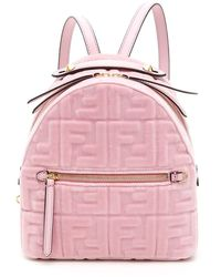Fendi Velvet Ff Mini Backpack - Pink
