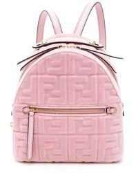 Fendi Velvet Ff Mini Backpack - Pink