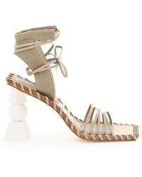 Jacquemus Valerie Haute Suede E Canvas Sandals - Natural