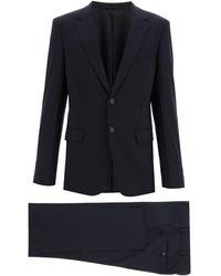 Prada Bi-stretch Canvas Suit - Blue