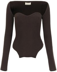 Khaite Maddy Bustier Knit Top M - Brown