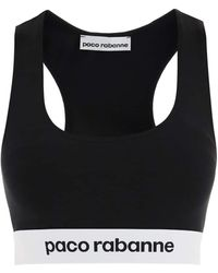 Paco Rabanne Cropped Top With Logo Band - Black