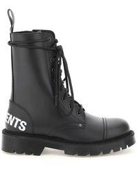 Vetements Logo Military Boots - Black