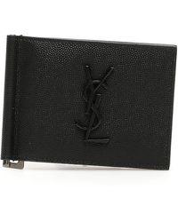 Saint Laurent Monogram Money Clip Wallet - Black