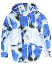 KENZO Blurred Poppy Print Windbreaker Jacket - Blue
