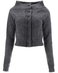 N°21 Cardigan With Crystals - Gray
