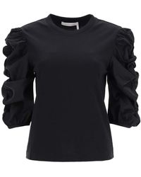 See By Chloé T-shirt With Gathered Sleeves - Black