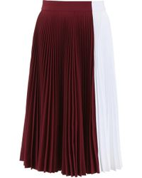 CALVIN KLEIN 205W39NYC Color Block Pleated Skirt - Red
