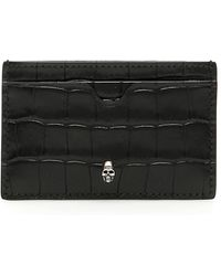 Alexander McQueen Skull Croc Card Holder - Black