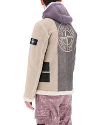 Stone Island Shearling Bomber Jacket M Fur,leather - Grey