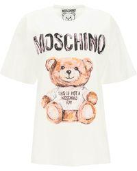 Moschino T-SHIRT GIROCOLLO PAINTING TEDDY BEAR - Multicolore