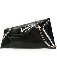 Moschino Asymmetrical Clutch With Signature Logo - Black
