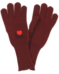 Raf Simons Wool Gloves I Love You - Red
