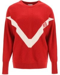 RED Valentino - Sweater With Red Embroidery - Lyst
