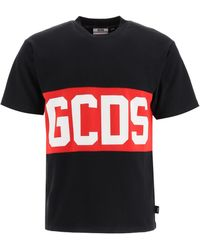 Gcds T-shirt With Logo Band S Cotton - Black
