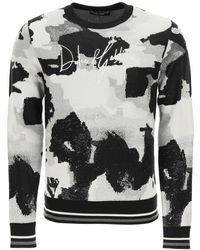 Dolce & Gabbana Camouflage Sweater With Logo Embroidery - Multicolor