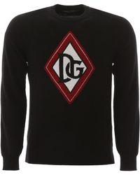Dolce & Gabbana Pullover With Logo Intarsia - Black