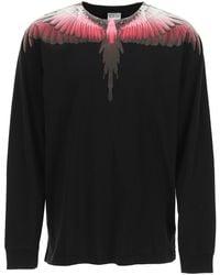 Marcelo Burlon Wings Long-sleeved T-shirt M Cotton - Black