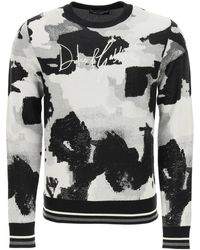 Dolce & Gabbana Camouflage Sweater With Logo Embroidery - Multicolour