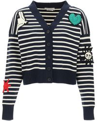 Alexander McQueen Striped Cardigan With Crochet Embroidery S Wool - Blue