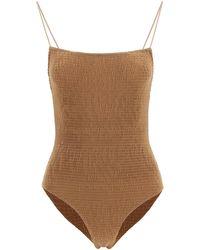 Totême Smocked Swimsuit L - Brown
