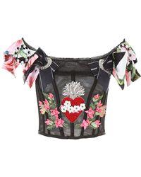 Dolce & Gabbana Sacred Heart Embroidered Bustier - Black