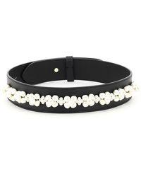 Simone Rocha Leather Belt With Pearls - Black