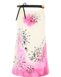ede3d8858e Tie-dye Mini Dress With Crystals - Pink