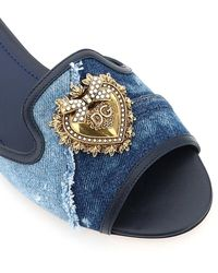 Dolce & Gabbana Bianca Devotion Denim Flat Mules 37 Leather,cotton - Blue