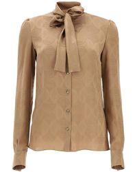 Dolce & Gabbana Silk Shirt Dg Logo - Natural
