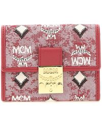 MCM Mini Trifold Wallet Os Leather,cotton - Red