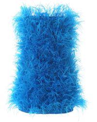 The Attico Marabou Mini Dress - Blue