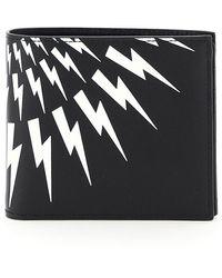 Neil Barrett Fair-isle Thunderbolt Wallet Os Leather - Black