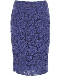 Valentino Lace Midi Skirt - Blue