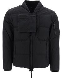 Stone Island Shadow Project Down Vest-jacket In Cotton Poplin And Nylon - Black