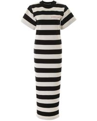 Alexander Wang Chinatown Striped Cotton-jersey Maxi Dress - Black